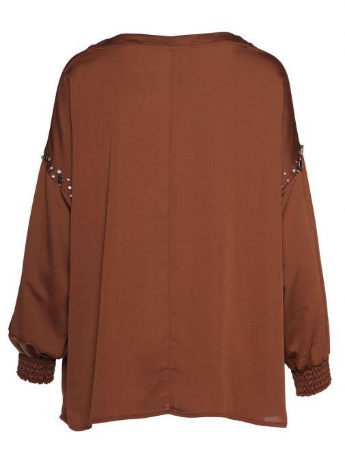 Access Fashion Brown Cuffed Long Sleeve Blouse