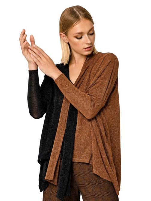 Access Fashion Black and Bronze Dipped Hem Top 29-2235-359 BLACK