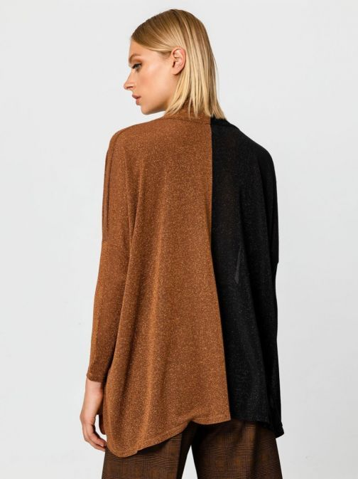 Access Fashion Black and Bronze Dipped Hem Top