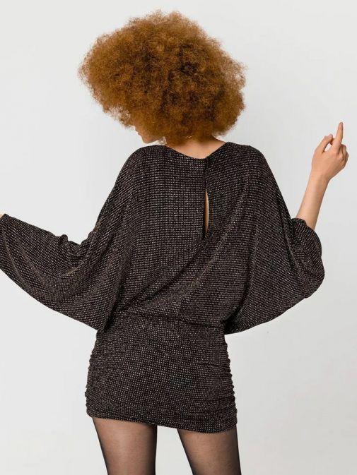 Access Fashion Black Embellished Plunge Neck Batwing Sleeve Dress