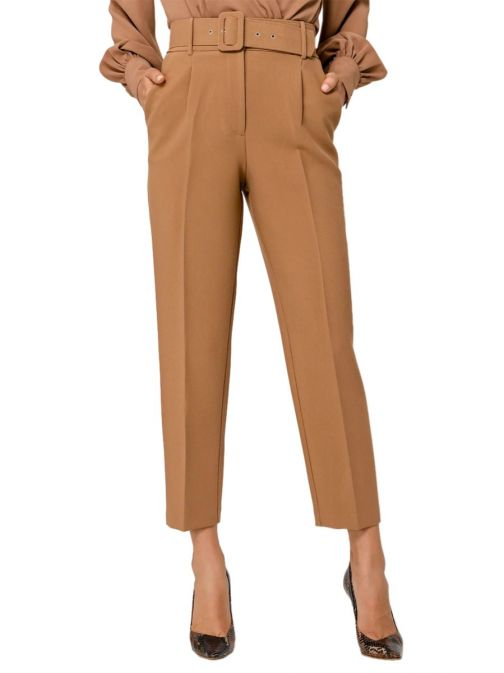 Access Fashion Camel High Waisted Straight Leg Trousers 29-5007-441 CAMEL