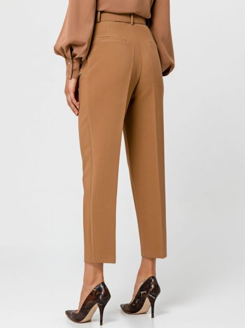 Access Fashion Camel High Waisted Straight Leg Trousers