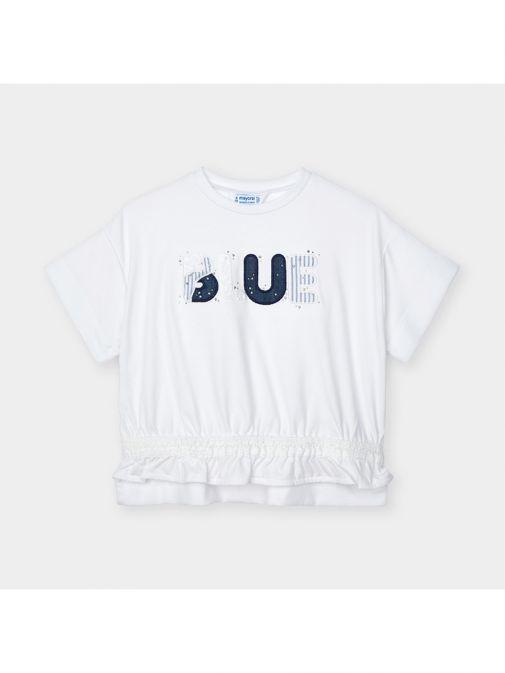 Mayoral Ink Short Sleeved Appliqué Blue T-Shirt 3010/27-Navy