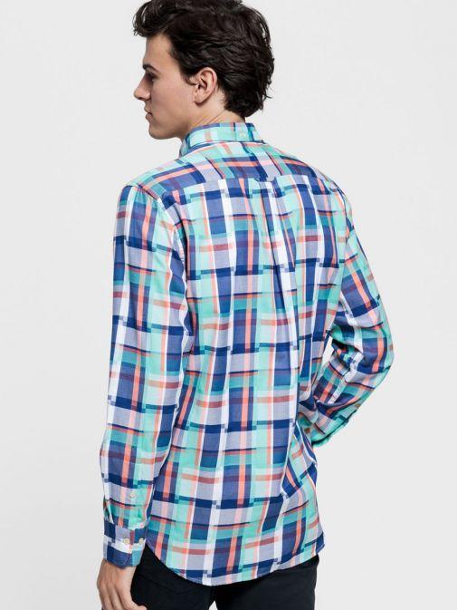 Gant Pool Green Regular Fit Madras Irregular Shirt