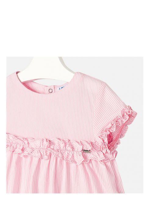 Mayoral Pink Stripe Sleeveless Frill Top