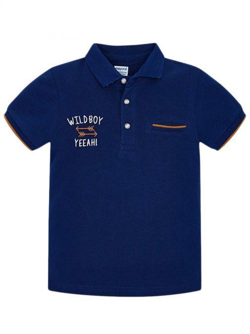 Mayoral Far Blue Short Sleeved Back Motif Polo Shirt 3120 78