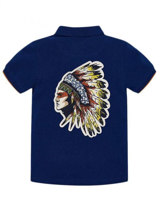 Mayoral Far Blue Short Sleeved Back Motif Polo Shirt