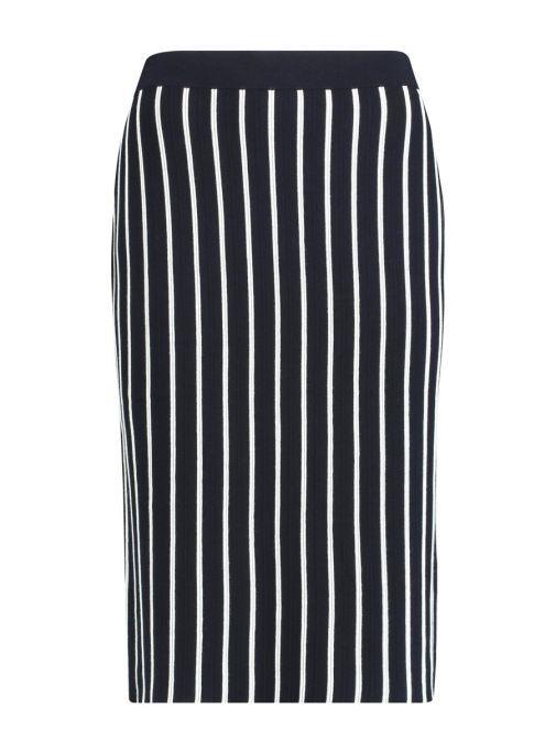 Taifun Navy Vertical Stripe Skirt 312033-15019 8102