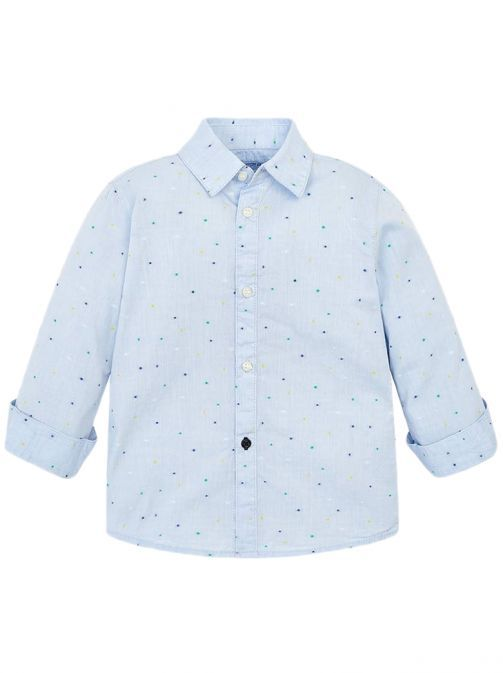 Mayoral Sky Blue Long Sleeved Mini-Patterned Shirt 3138 67