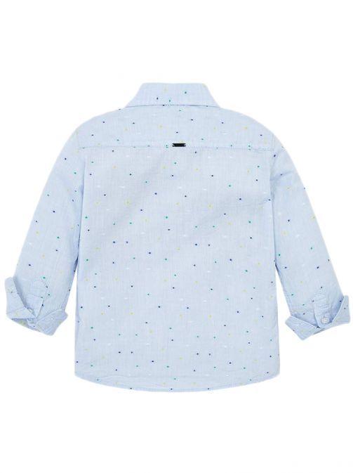 Mayoral Sky Blue Long Sleeved Mini-Patterned Shirt