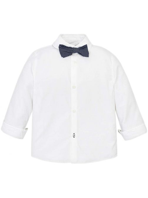 Mayoral White Long Sleeved Shirt With Bow-Tie 3139 63