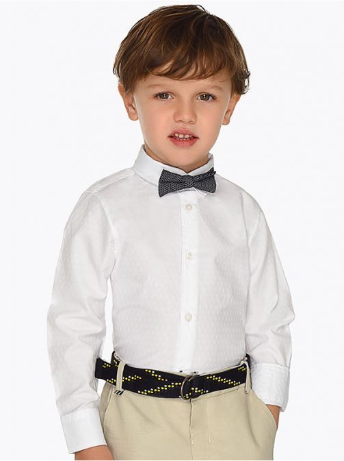 Mayoral White Long Sleeved Shirt With Bow-Tie