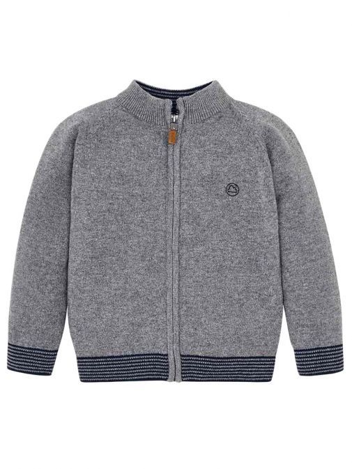 Mayoral Grey Knitted Zip Up Jacket 327 26