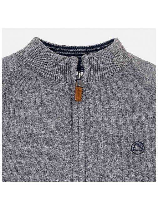 Mayoral Grey Knitted Zip Up Jacket