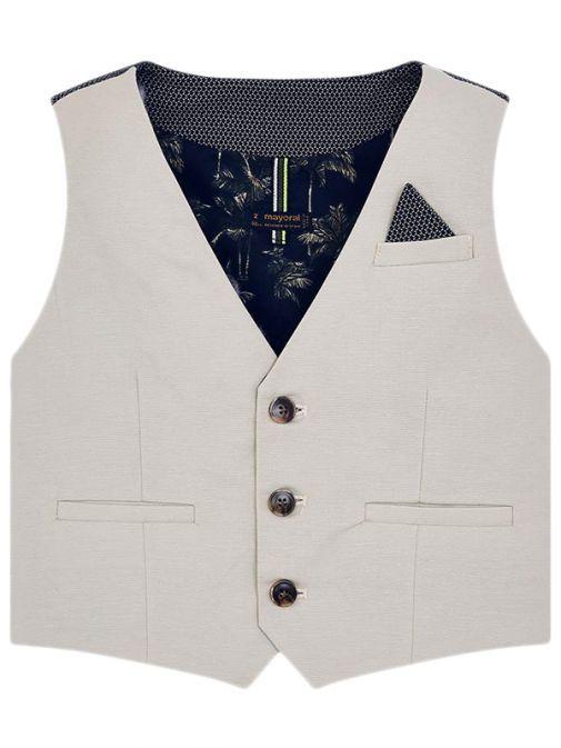 Mayoral Stone Linen Suit Waistcoat 3310 90