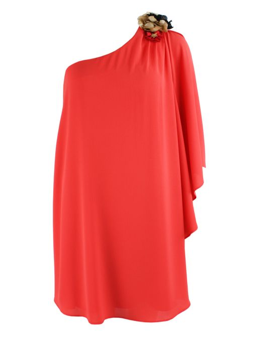 Alba Conde Coral Red One Shoulder Shift Dress 3437/55