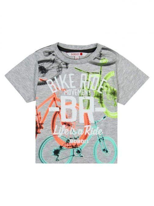 Boboli Grey Bicycle Print T-Shirt