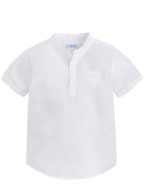 Mayoral White Short Sleeve Granddad Collar Shirt 3152 56