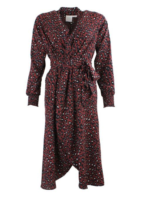 Neon Starfish Burgundy Print Wrap Dress 3601/BURGUNDY