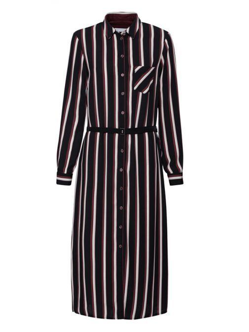 Bianca Black/Multi Dolores Striped Midaxi Shirt Dress 37000 899
