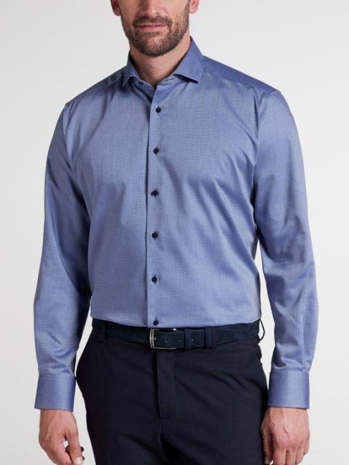 Eterna Blue Long Sleeved Modern Fit Twill Shirt 3719/18 x17v