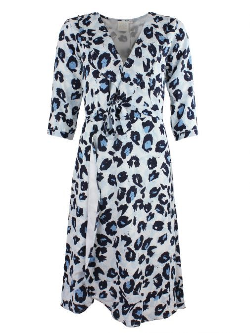 Neon Starfish Grey Printed Wrap Dress 3801/GREY