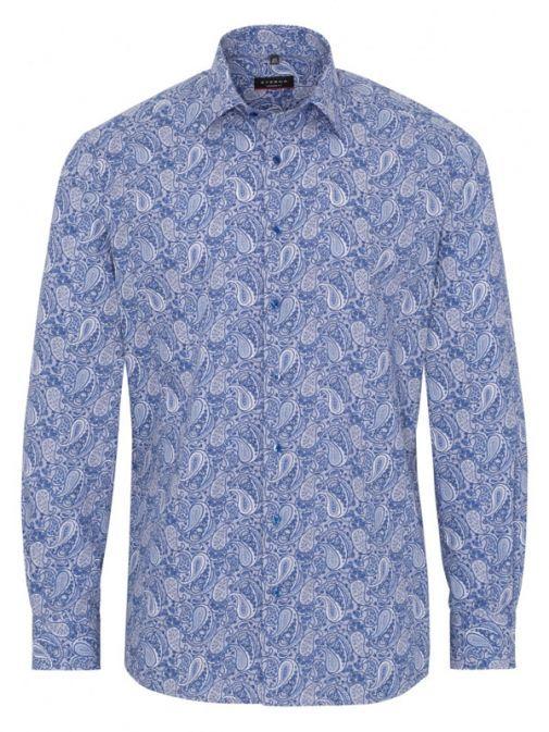 Eterna Blue Paisley Print Long Sleeved Modern Fit Poplin Shirt 3865/15 x18p