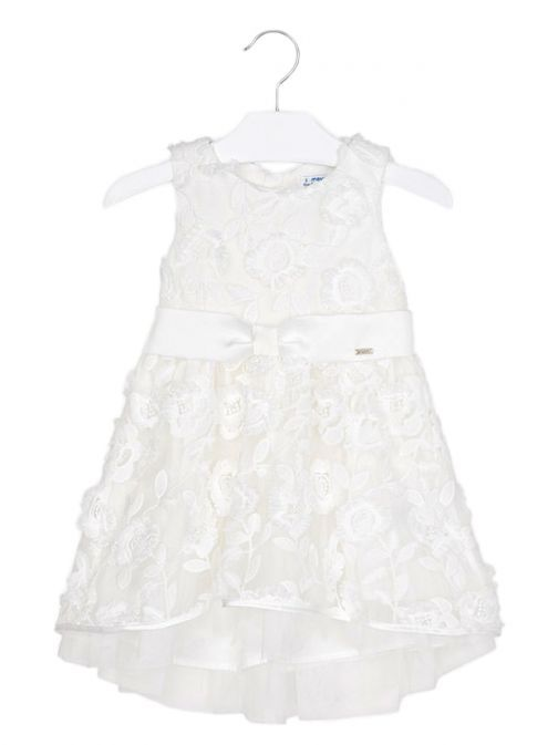 Mayoral Off White Floral Embroidered Dress 3907 91