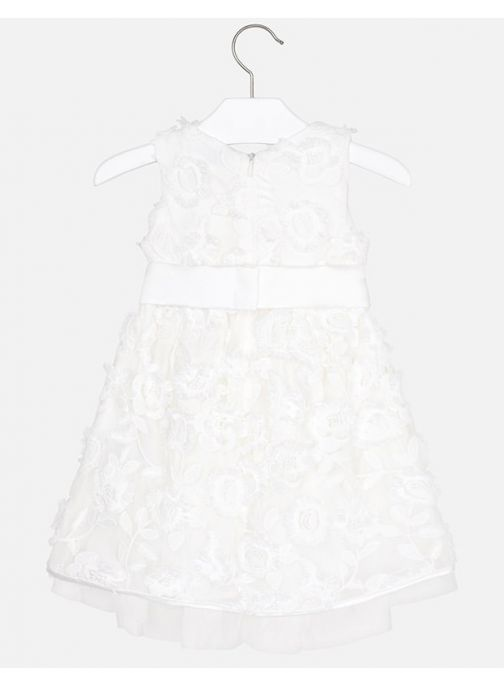 Mayoral Off White Floral Embroidered Dress