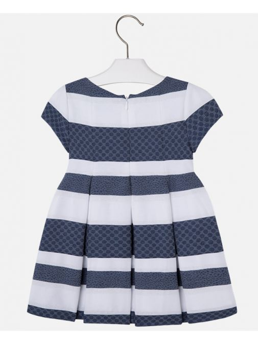 Mayoral Navy Blue & White Striped Dress