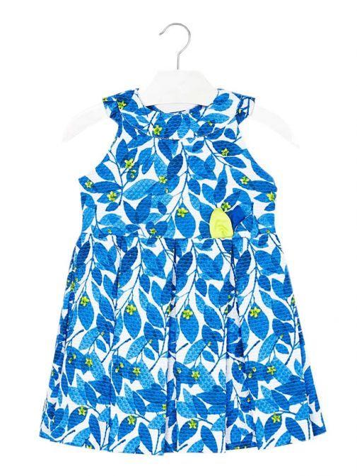 Mayoral White & Blue Floral Dress 3922 38