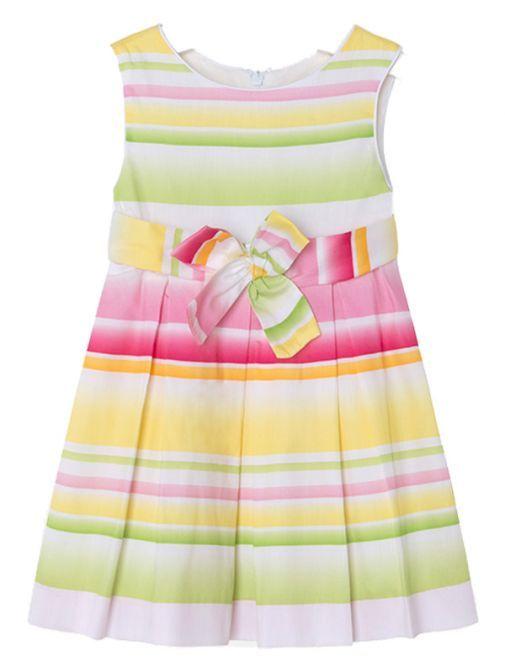 Mayoral Green Multi Satin Dress 3950 46