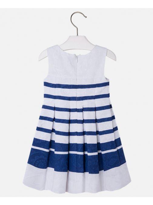 Mayoral White & Deep Blue Striped Dress