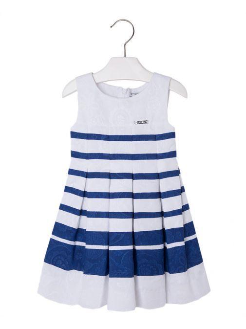 Mayoral White & Deep Blue Striped Dress 3959 45