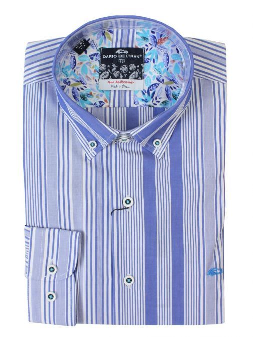 Dario Beltran Caricia Blue Stripe Long Sleeve Shirt 3VFG CARICIA 571