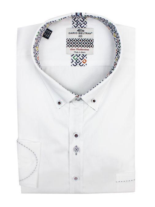 Dario Beltran White Marcha Stitch Detail Shirt