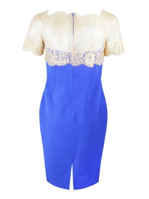 Arggido Blue & Gold Lace Bodice Dress