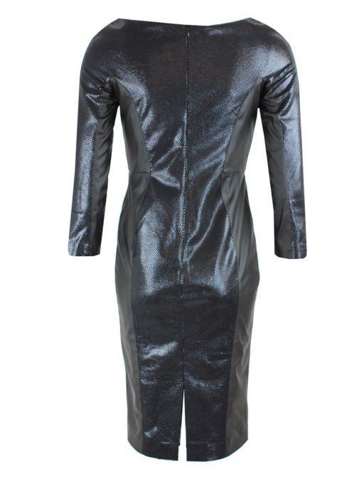Arggido Black 3/4 Length Sleeve Shiny Croc Print Dress