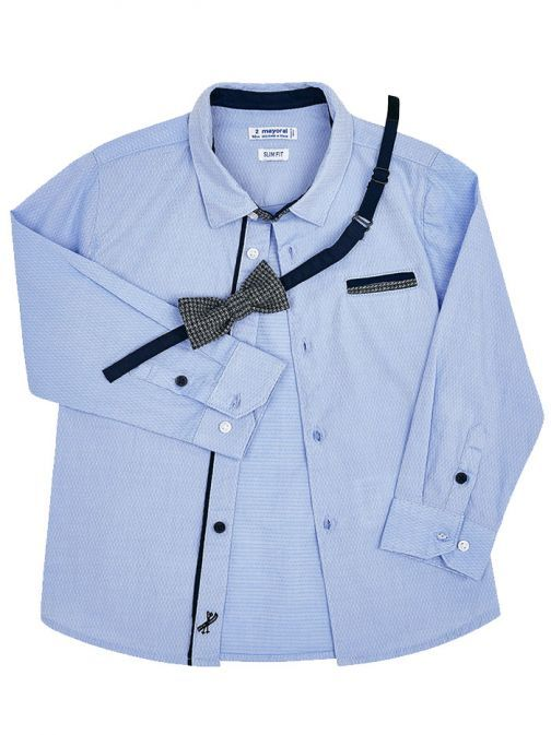 Mayoral Blue Bow Tie Shirt