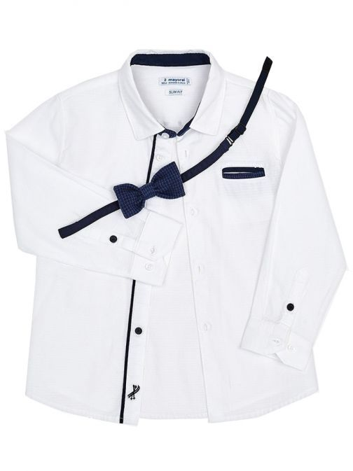 Mayoral White Bow Tie Shirt