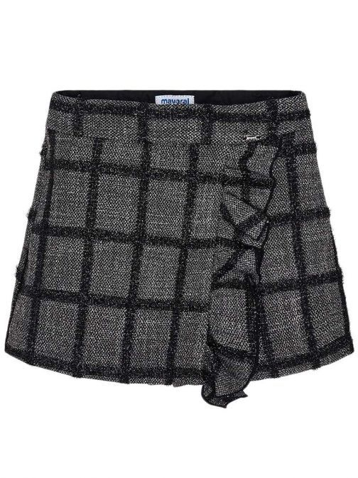 Mayoral Black & Grey Frill Checkered Skort 4203 55