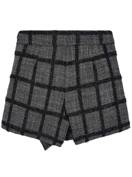 Mayoral Black & Grey Frill Checkered Skort