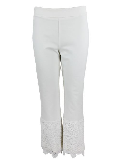 Arggido Off White Cropped Lace Trim Trousers
