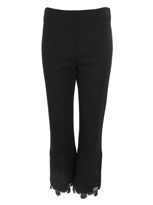Arggido Black Cropped Lace Trim Trousers