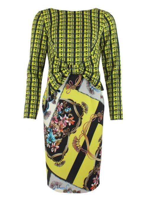 Arggido Lime Multi Long Sleeve Patterned Dress