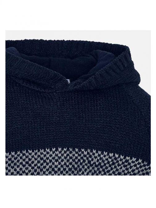 Mayoral Navy Multi Hooded Knit Jumper