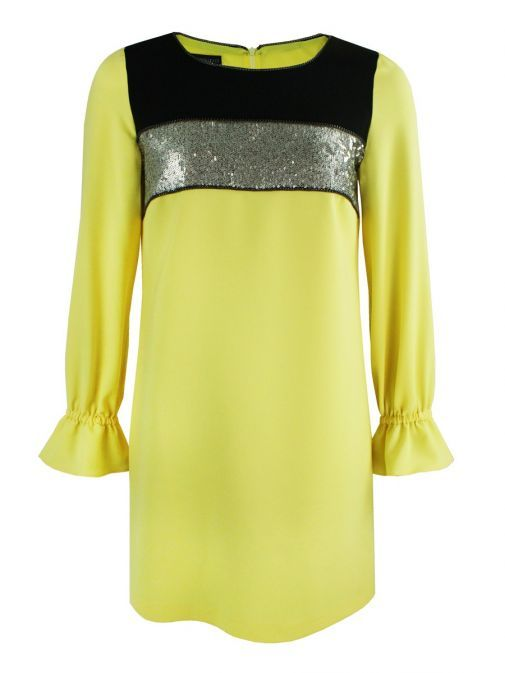 Arggido Yellow Sequin Panel Shift Dress 43145-amar-yellow