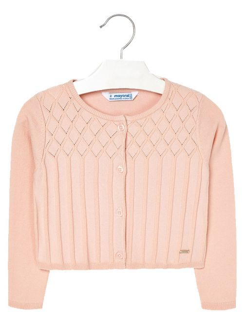Mayoral Blush Knitted Patterned Cardigan 4326 39