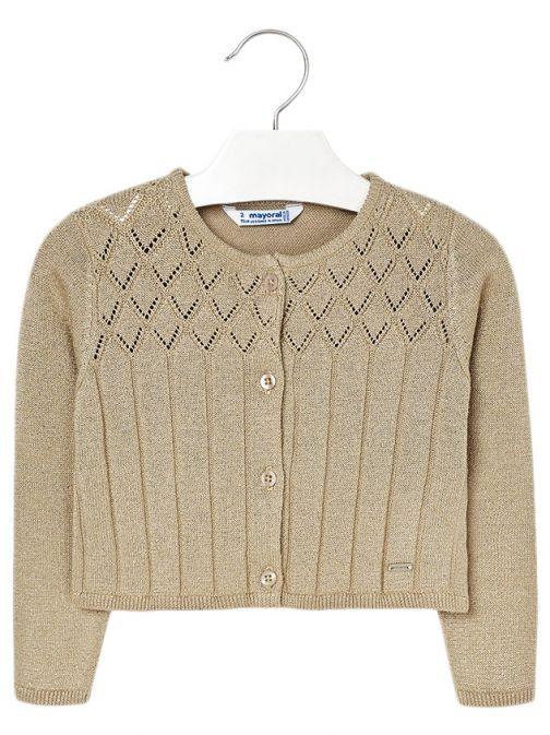 Mayoral Gold Sparkle Knit Cardigan 4326 41