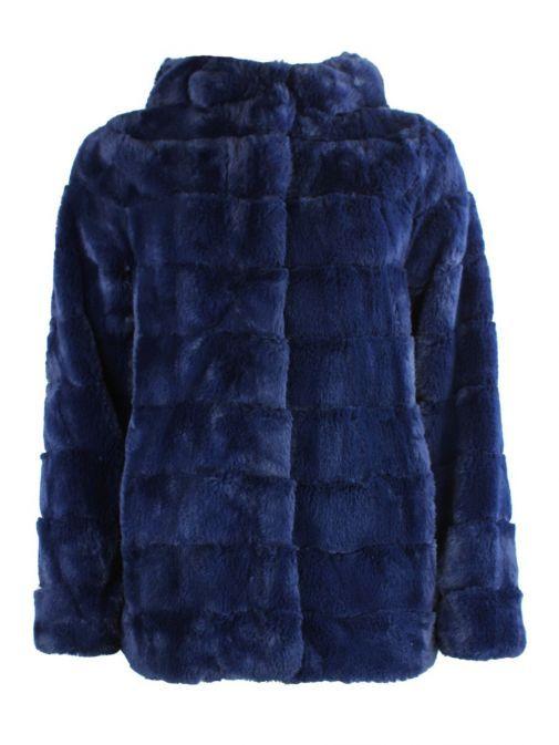 Betty Barclay Navy Hooded Faux Fur Coat